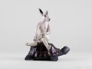 Do Nogues - Le lièvre et la tortue - hauteur 22 cm - Vendu