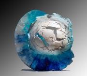 Nad Vallée - Eclosion Marine - cristal/raku de porcelaine - diamètre 44 x 12 cm