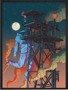 Olivier Bonhomme - Man on the moon - technique mixte, tirage unique sur dibond - 56 x 76 cm
